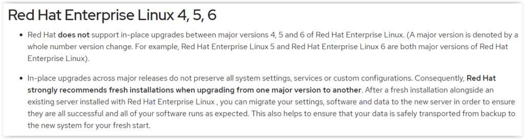 RedHat no recomienda la actualizacion del sistema operativo cuando se trata de saltar de major version